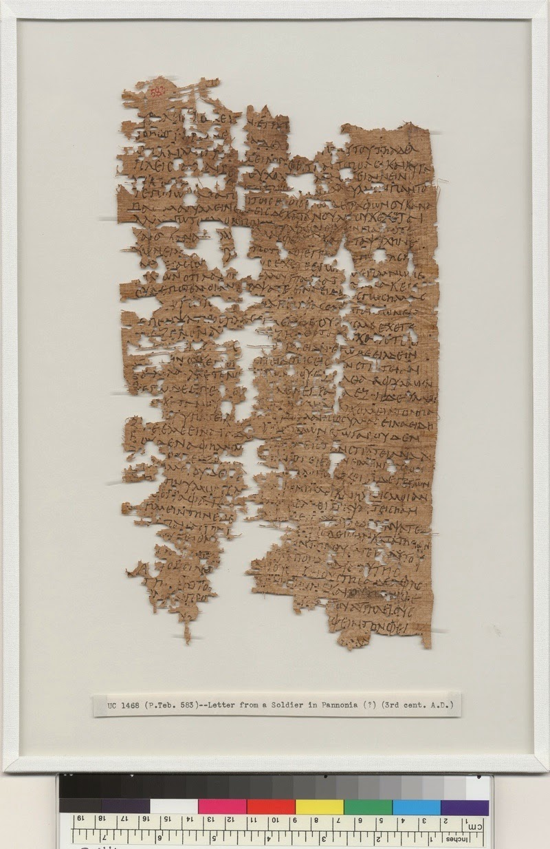 In greek: letter from a Roman legionary