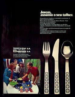 garfo; faca e colher Hercules;  os anos 70; propaganda na década de 70; Brazil in the 70s, história anos 70; Oswaldo Hernandez;
