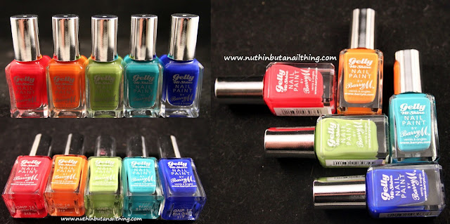 New Barry M Gelly Collection Swatches - Passion Fruit, Mango, Key Lime, Guava and Blue Grape