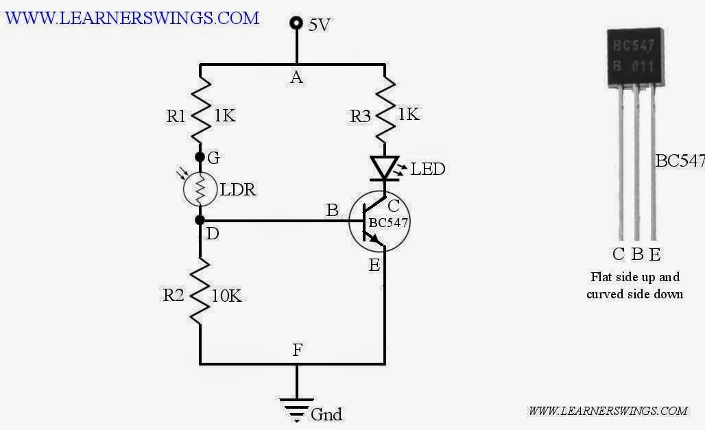 Turn On an LED During Day and Turn Off in Night Using LDR and BC547 ...