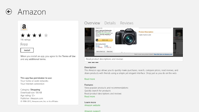 Amazon app on Windows 8 Store