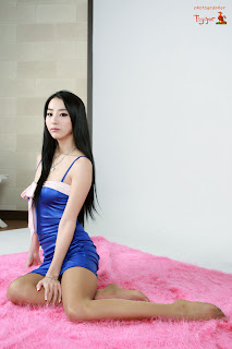 Seo You Jin Korean Sexy Model hot blue mini robe 16