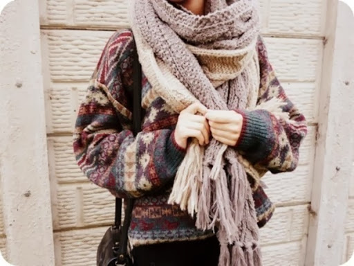 oatmeal knit scarf