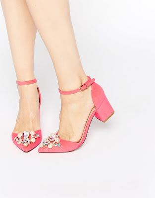Asos pink low heeled shoes