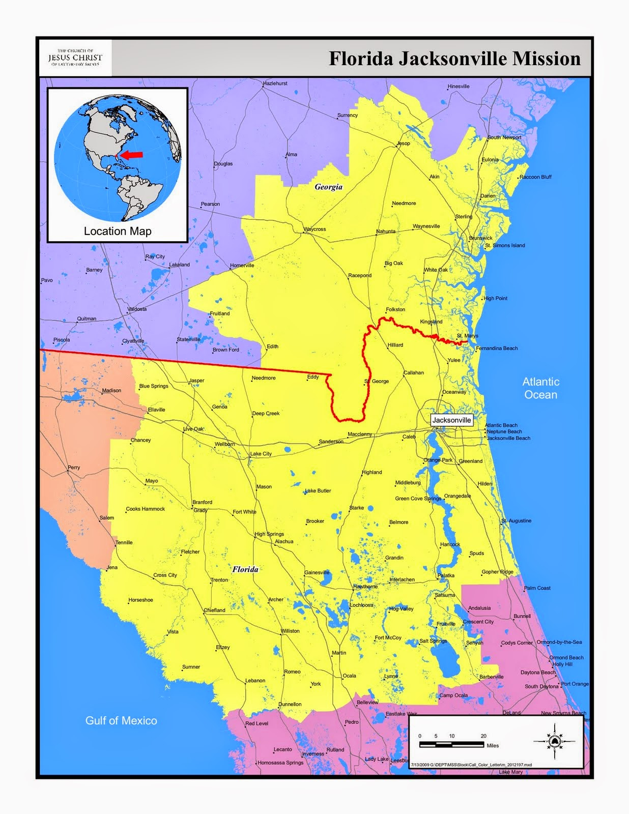 Florida Jacksonville Mission Map (Yellow)