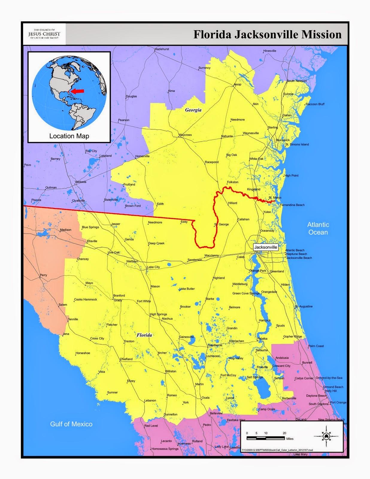 Florida Jacksonville Mission Map (Yellow)
