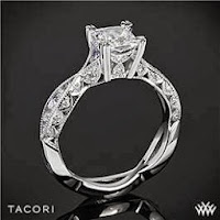 Tacori classic crescent twist princess diamond ring