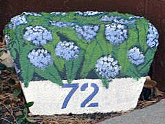 painted rock, home, garden, address
