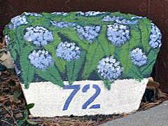 painted rock, home, garden, address