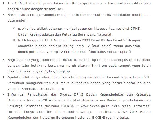 Lowongan Kerja 2014 CPNS BKKBN