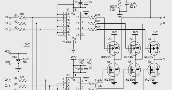 brushless dc motor control circuit schematic using