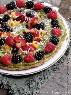 Avocado-Lime Whip Fruit Medley Pizza in a Cinnamon Sugar Crust
