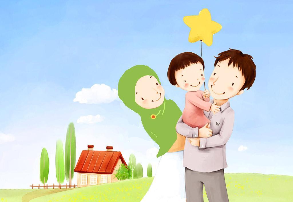 Family Cartoon of 7 Muslim Family Cartoon
