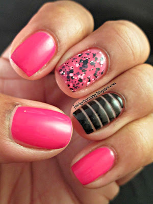 Zoya Morgan, Maybelline Pretty In Polka, Rimmel Black Satin, pink, hot pink, fuschia, jelly, spotted, polka dots, striping tape, tape mani, nails, nail art, nail design, mani
