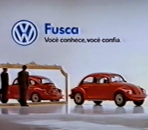 """Propaganda do Fusca (Volkswagen) em 1994 que retornou ao mercado na versão """"gasolina"""" ou """"álcool""""."""