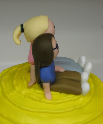 Therapy Exercise Ball Cake - Side Close-Up of Fondant People