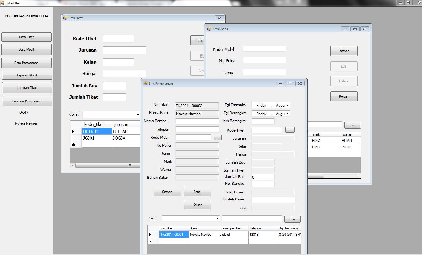 Aplikasi Penjualan Tiket Bus Visual Basic 2010 - Ilmu Programmer