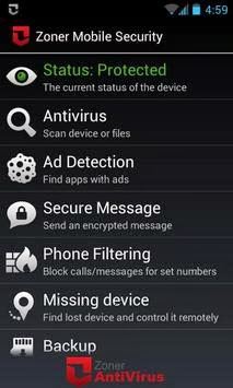 Zoner Mobile Security android apk - Screenshoot