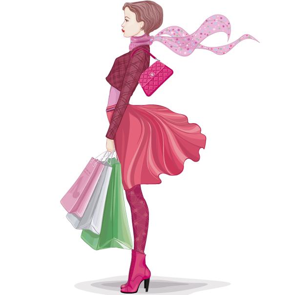 Chica moderna de compras - Vector