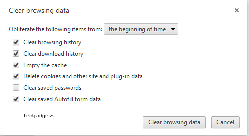 Chrome keyboard shortcuts to clear browsing data