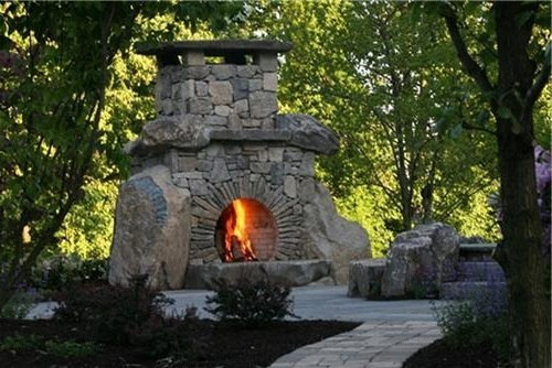 outdoor stone fireplace ayanahouse