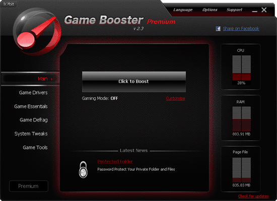 Game Booster приложение, основное предназначение которой настроить операцио