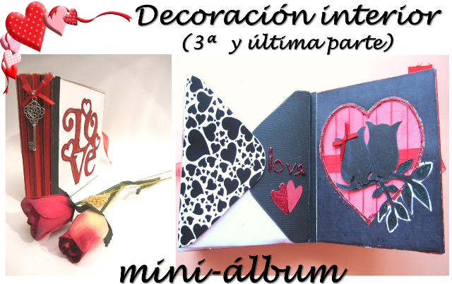 portada scrapbooking para San Valentin tercera parte de la decoración interior del LOVE mini-álbum hecho con tarjetas y sobres