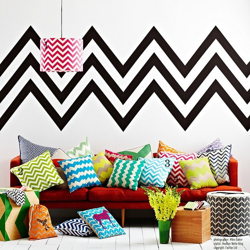 Arrangement of chevron pattern pillows trend spotting graphic patterns and geometric designs home decor ideas and trends
