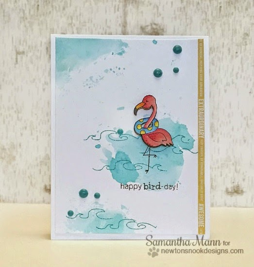 Happy Bird-Day Card by Samantha Mann | Flirty Flamingos stamp set by Newton's Nook Designs