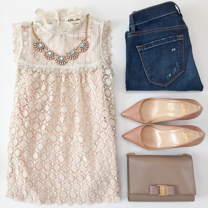 Anthropologie les fleurs lace petite top chrisitan louboutin pigalle nude pointy toe pumps, Ferragamo miss vara bow mini bag Loft modern distressed skinny jeans LOFT pink fan statement necklace