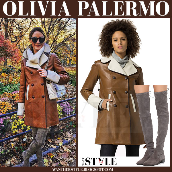 Olivia Palermo in brown leather tommy hilfiger coat and grey suede stuart weitzman lowland thigh boots what she wore winter style