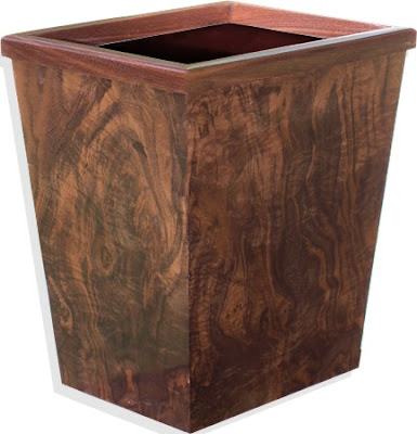walnut wood wastepaper basket