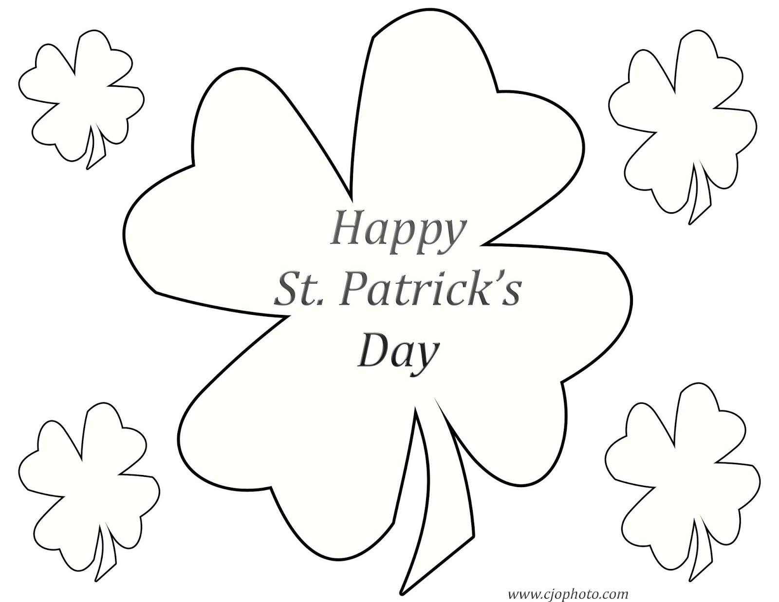 CJO Photo St. Patrick's Day Coloring Page Shamrocks