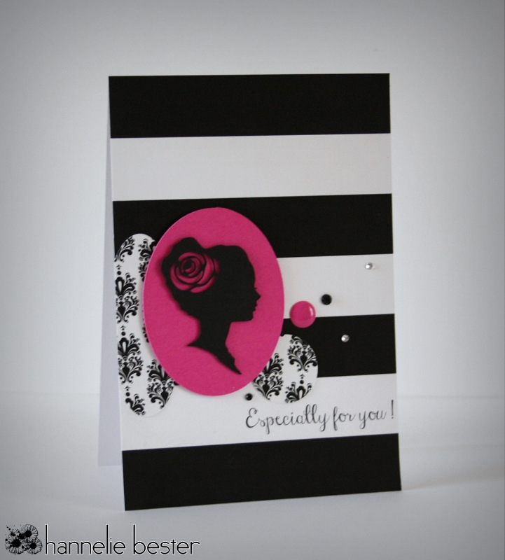 black and white and splash of magenta silhouette card