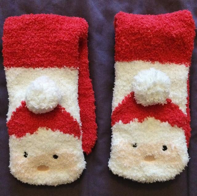 fluffy santa socks