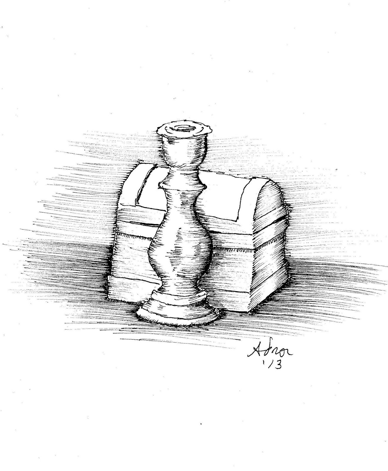 artist adron candlestick and box sketch in marker
