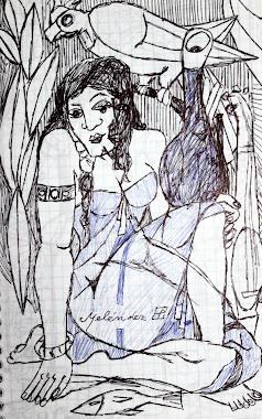 La joven y el loro