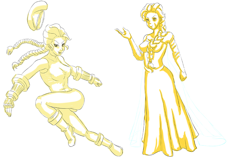 [Lineart] Reasonable Similarities - Elsa/Cammy