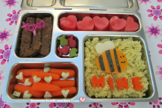 valentines lunch, bee mine, bento school lunches
