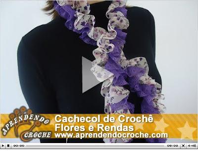V  Deo Aula   Lan  Amento  Cachecol De Croch   Flores E Rendas