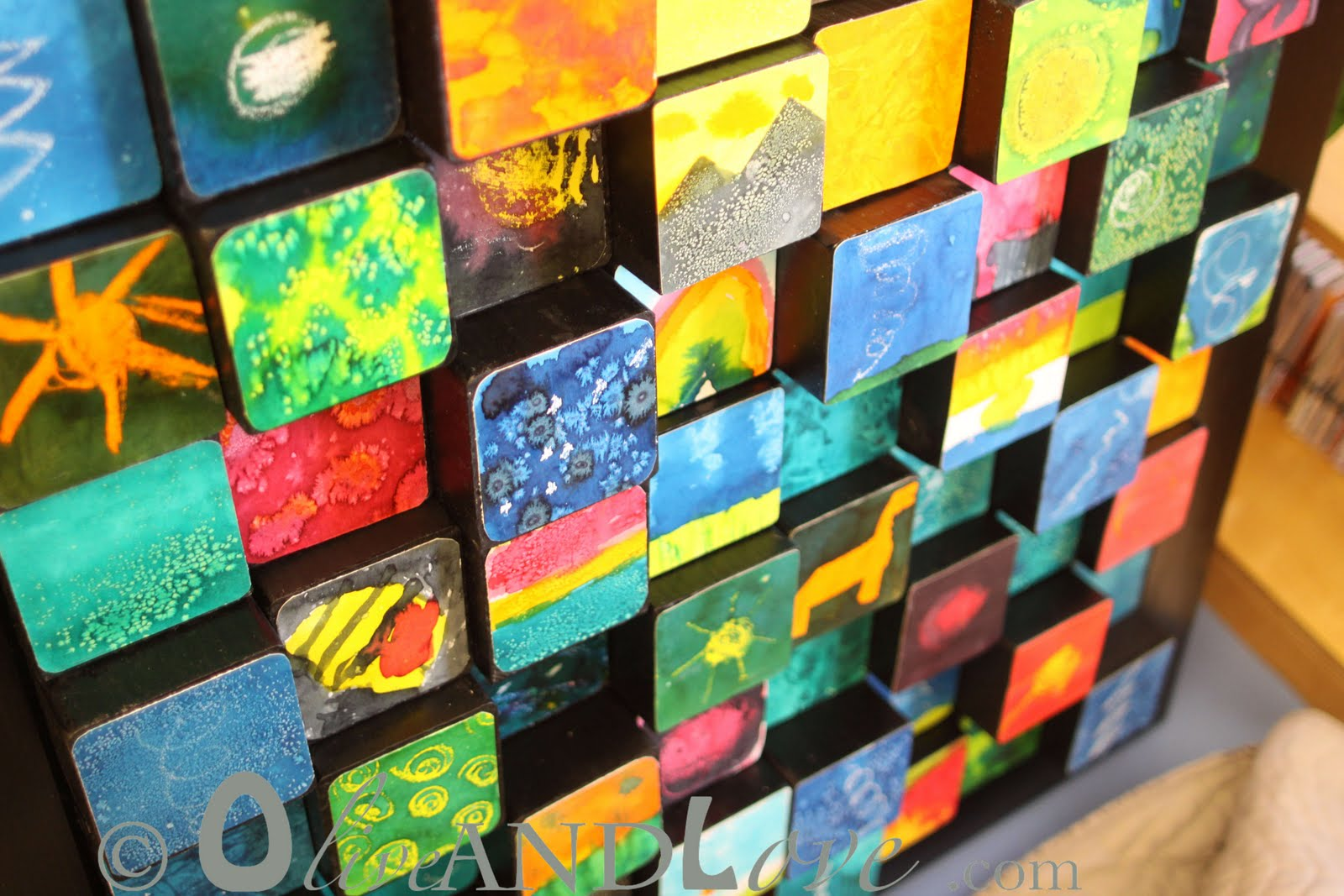 Classroom Project Ideas ~ Olive and love d wooden blocks children s auction art