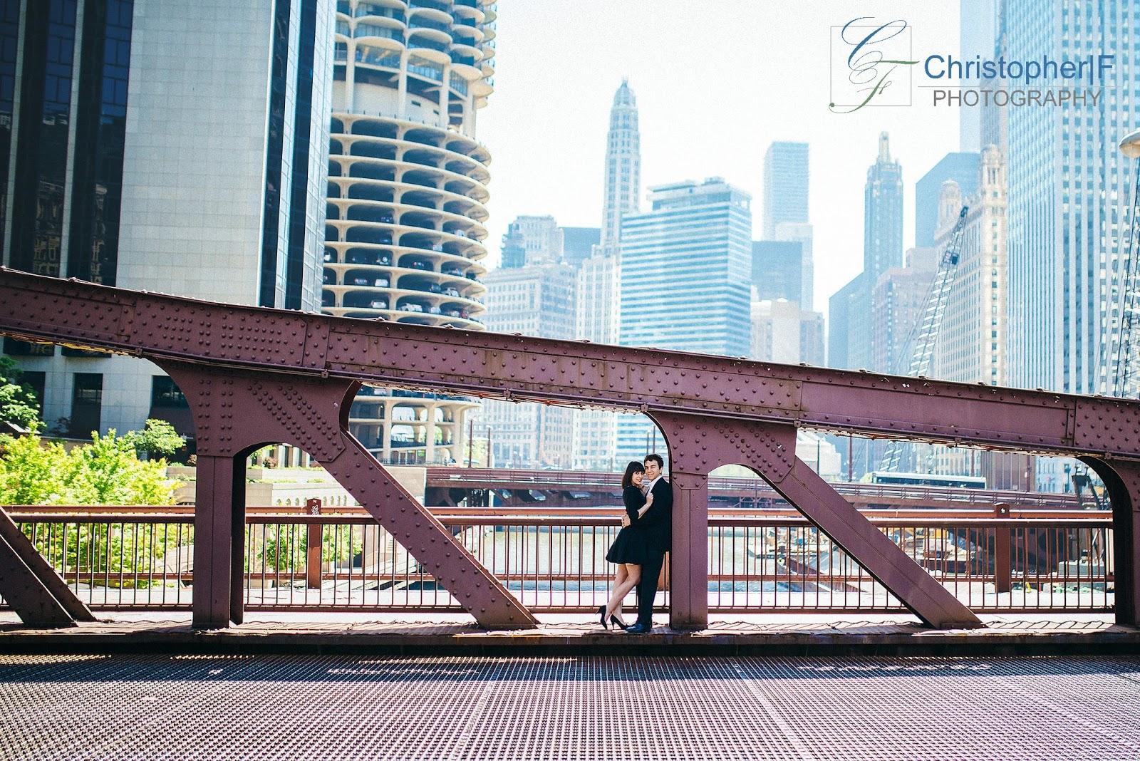 Downtown Chicago Bridge Engagement photo