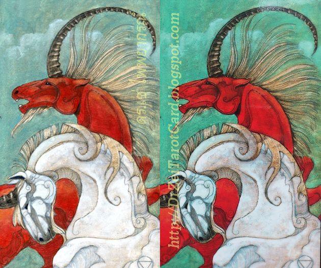 Two of Cups Mary El Tarot Minor Arcana Card Unicorns ม้า ยูนิคอร์น ไพ่ทาโร่ ไพ่ยิปซี ไพ่สองถ้วย ไพ่ทาโรต์สองถ้วย ไพ่ 2 of Cups Green Colour