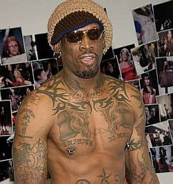 Business Tattoo: DENNIS RODMAN Tattoos Basketball