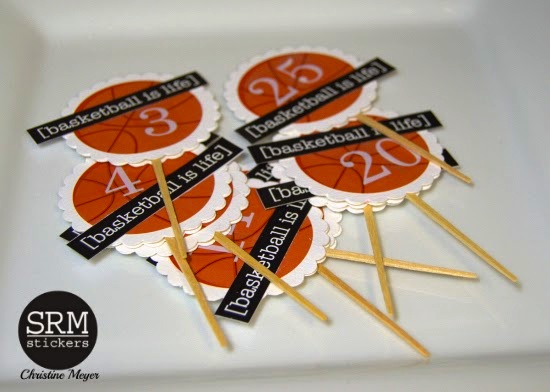 SRM Stickers Blog - Basketball Cupcake Toppers by Christine - #basketball #teamtreats #punchedpieces #Take2stickers #tickers #teamtreats