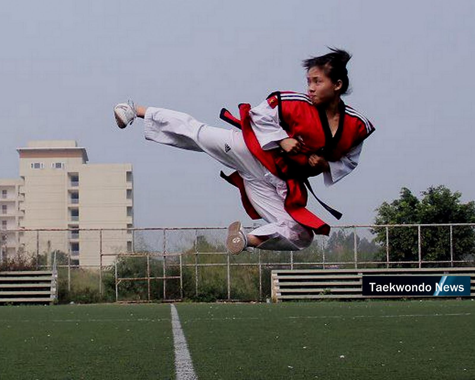 Taekwondo flying side kick