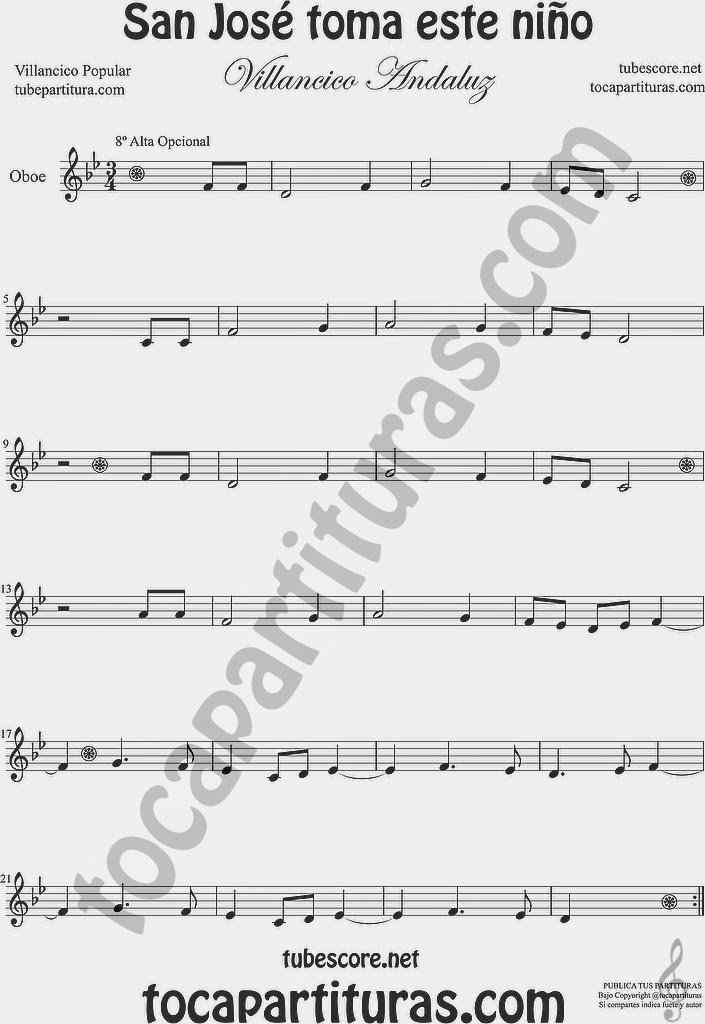 San José toma este niño  San José toma este niño  Partitura de Oboe Sheet Music for Oboe Music Score
