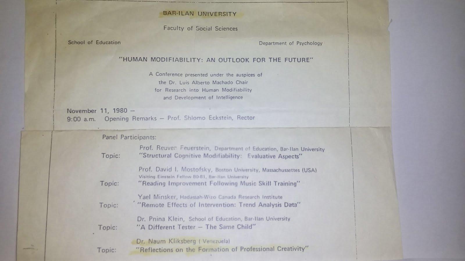 33 - Conferencia de Naum Kliksberg en la Universidad israelí de Barilan.11/11/1980
