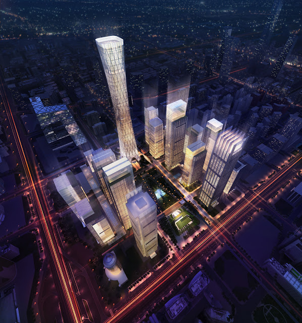 Rendering of China Zun (CITIC Plaza) by TFP Farrells, Beijing, China along with other proposed buildings in the complex