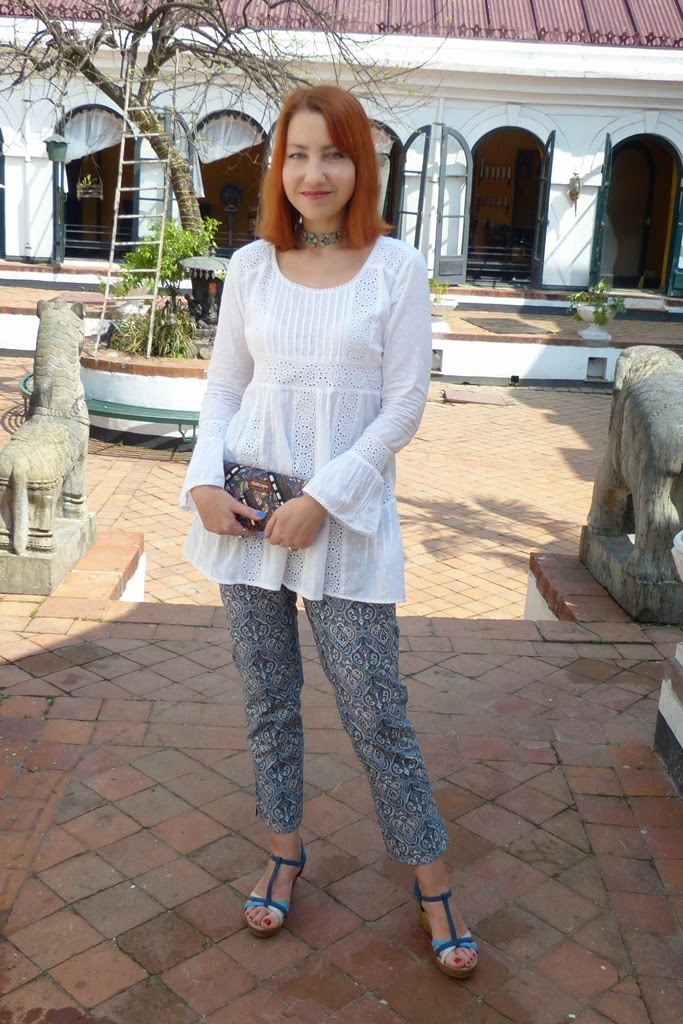White cotton top over baroque print cropped pants
